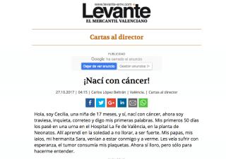 """""""Nací con cáncer"""", la historia de Cecilia."""